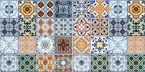 De'Carpet Alfombra VINILICA Estampada Vinilo Base Goma Natural FÁCIL Limpieza 100% Antideslizante Acolchada BALDOSA HIDRAULICA NAGE (130X190cm)