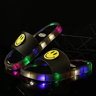 Children's LED Slipper Luminous Jelly Summer Girls Slippers PVC Cartoon Smile Beach Sandals Kids Home Bathroom 2020 Footwear