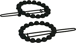 Beaded Open Circle Duo Hair Pin Set