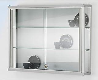 Vitrine murale LINK - 2 tablettes, portes coulissantes - h x l x p 590 x 800 x 120 mm - armoire vitrée armoires vitrées vi...