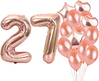 Sweet 27th Birthday Decorations Party Supplies,Rose Gold Number 27 Balloons,27th Foil Mylar Balloons Latex Balloon Decoration,Great 27th Birthday Gifts for Girls,Women,Men,Photo Props