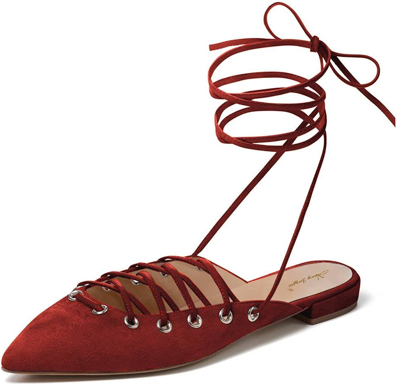NJ kvinnor mode Point Toe Flats Sandaler Sandaler Sandaler Lace up Low klackar Slingback Pumps Cutout skor  billigt i hög kvalitet