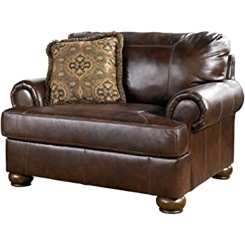 Signature Design by Ashley - Axiom Traditional Genuine Leather Accent Chair w/ 1 Pillow, Walnut Brown