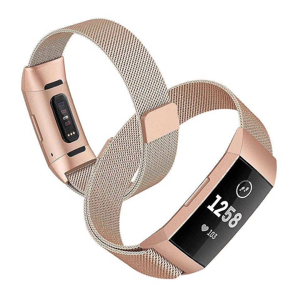 寛解寛解上にZeonetak for Fitbit charge 3 時計バンド for Fitbit charge3 交換バンド ステンレス 磁気バックル おしゃれ ビジネス 通気性 耐久 高級 工具なしで長さ簡単調整