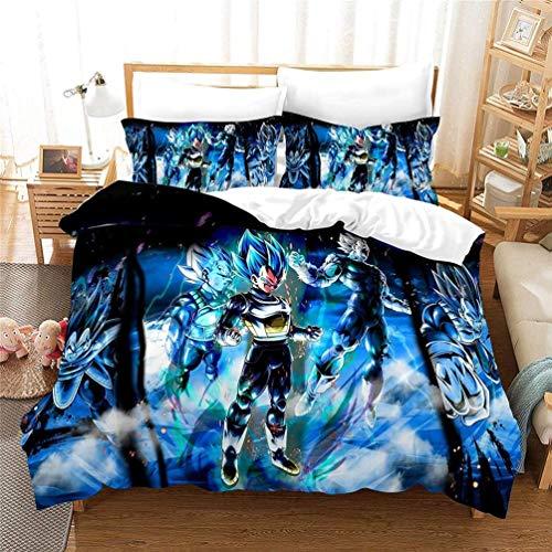 Amacigana Dragon Ball Z - Juego de funda de edredón para niños con 2 fundas de almohada, 3 piezas, microfibra (A19,155 x 220 cm)