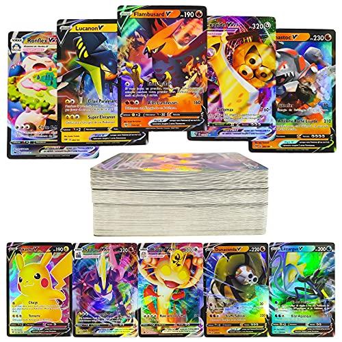 103 Cartes Pokemon de Collection en français, 60 V-Carte + 40 Vmax-Cart + 3 Carte énergie, Trading Puzzle Tag Team Cartes, Amusant Flash Card, Cadeaux de Noël et Cadeaux d'anniversaire pour Enfants