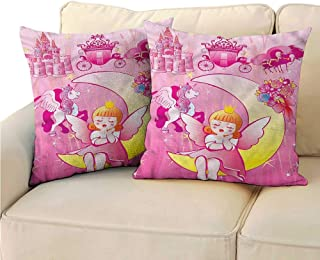 RuppertTextile Pink Customized Pillowcase Moon Unicorn Castle Suitable for Hair and Skin Health W23 x L23