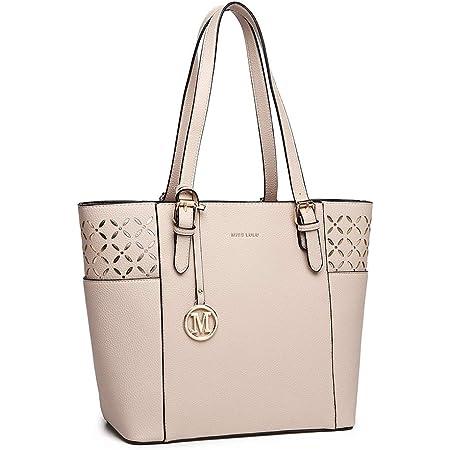 Miss Lulu Damen Schultertasche Elegant Shopper Tasche (Beige-1)