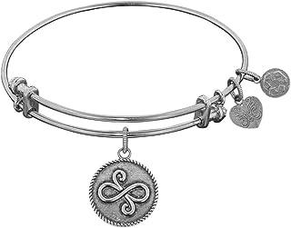 "White Smooth Finish Brass Best Friends Angelica Bangle Bracelet, 7.25"""