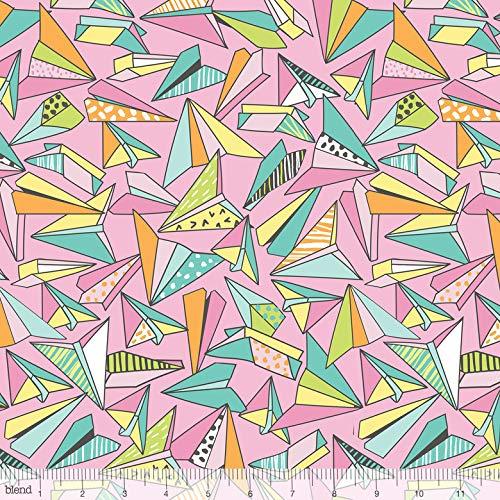 Origami Papieren Vliegtuigen Roze Pen & Papier Stationair 100% Katoen Stof door Blend (UK)
