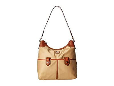 Dooney & Bourke Camden Zip Hobo (Natural/Dark Chocolate Trim) Hobo Handbags