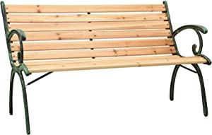 Tidyard Garden Bench Wood Seat Iron Frame Patio Porch Chair Outdoor Bench for Backyard, Balcony, Park, Lawn Furniture 48.4 x 21.3 x 30.3 Inches (W x D x H)