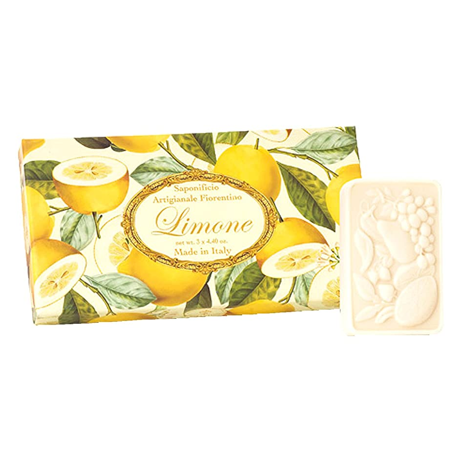 素晴らしいです生活突然フィレンツェの 長い歴史から生まれたこだわり石鹸 レモン【刻印125g×3個セット】