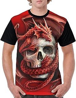 LPOWA Men's T-Shirt Red Dragon and Skull Short Sleeve Tee 3D Graphic Printed Tank, Black