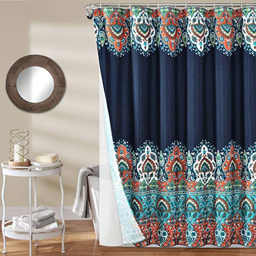 """Lush Decor Navy Bohemian Meadow Polyester Shower Curtain with Lining and Rings (72"""" x 72"""")"""