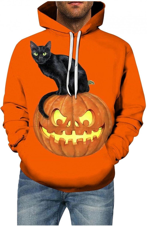 LEIYAN Halloween Mens Hoodie Graphic Pullover Casual Slim Fit Pumpkin Skull Printed Running Sweatshirt Outerwear