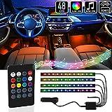 Mega Racer RGB Interior Car Lights - LED Strip Lights for Car, 48 LEDs 8 Colors, 4 Music Sync Effects with IR Remote Controller Waterproof Under Dash Car Lighting Kit, Car Charger DC 12V