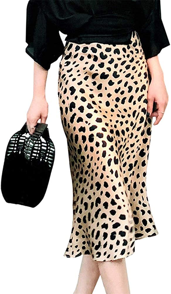 Women Leopard Printed High-Waisted Elastic Waist Straight Casual Midi Skirts