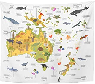 Emvency Tapestry Polyester Fabric Print Home Decor Australia and Oceania Flora Fauna Map Flat Animals Birds Sea Life Big Build Wall Hanging Tapestry for Living Room Bedroom Dorm 50x60 Inches