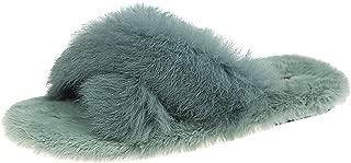 Ariel & Rebecca Rabbit Fur Slides Slippers for Women Girls Home House Shoes Slip On Flats