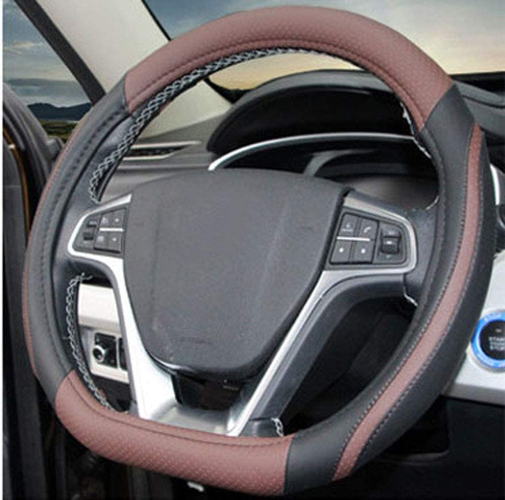 BuilLLin D Cut Steering Wheel Cover D Shaped Flat Bottom Microfiber Leather Anti-Skid Breathable Fit 14.5-15 Purple
