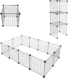 13.8''x13.8'' Panels Pet Playpen Pets Fence Lightweight and Easy to Move to Monitor Your Pets' Activities Easily and Avoid Them Scratching Your Furniture(12 Panels) (Black)