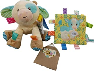 Taggies Soothing Sensory Farm Toy Bundle Cow Toy and Crinkle with Gift Card-3 Items (Casey Cow)