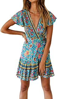 Women Summer Short Ruffled Sleeves Dress Girls Floral Pattern V-Neck Dress