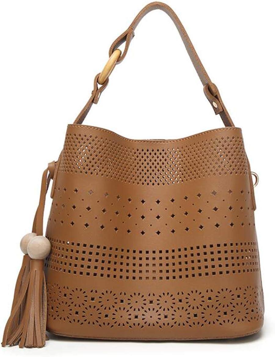 GJGJTER Women Hollow Hobo Totes Shoulder Bag Soft Synthetic PU Leather Crossbody Handbag Tassel Lady Satchel Purse Wallet