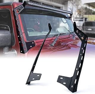 Xprite Front Windshield 50 Inch Light Bar Mounting Brackets For 2007-2018 Jeep Wrangler JK Sport Sahara Rubicon LED Light Bars - 1 Pair (Left & Right)