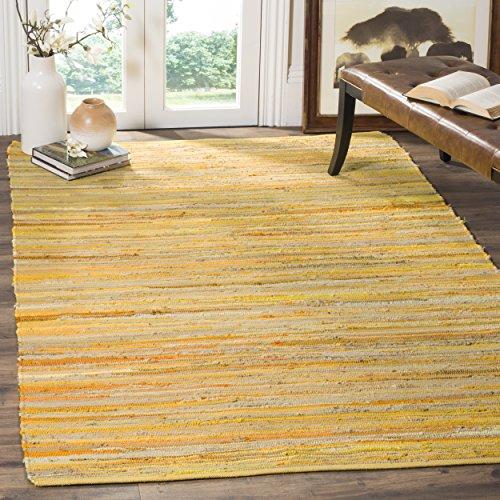 Safavieh Rag Rug Collection RAR130H Handmade Boho Stripe Cotton Area Rug, 6' x 9', Yellow / Multi