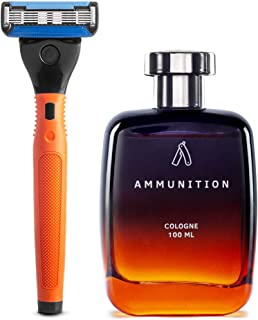 Ustraa Cologne - Ammunition for Men, 100 ml And Ustraa Gear - 5 Blade Razor with contoured rubber handle and blades (Orange)