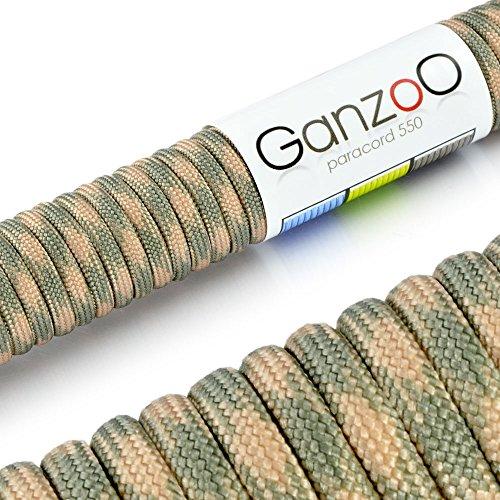 Ganzoo &apos Corda di Sopravvivenza, Parachute/para Cord 550(Nucleo Cappotto di Corda in Nylon), 550lbs, Lunghezza Totale: 31Meter (100ft) Colore: Beige/Army–Marca