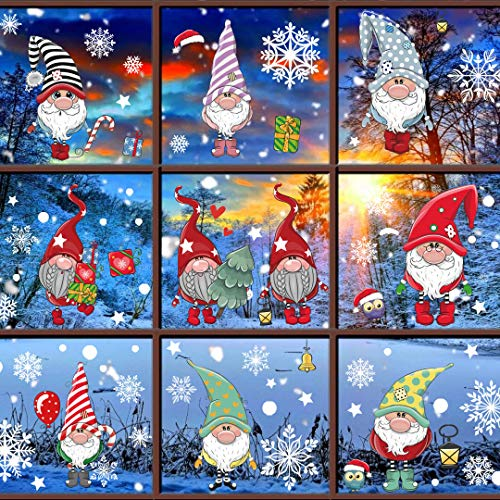 DUILE 4 Large Sheet Christmas Window Clings Christmas Window Decorations Xmas Window Flakes Christmas Gnome Tomte Stickers Holiday Snowflake Santa Claus Decals for Shop/Home Party