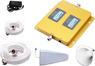 APOHALO High Gain 75dB 850/2100MHz GSM/3G/WCDMA Cell Phone Signal Repeater with Outdoor Antennas White Cable (White Cable)