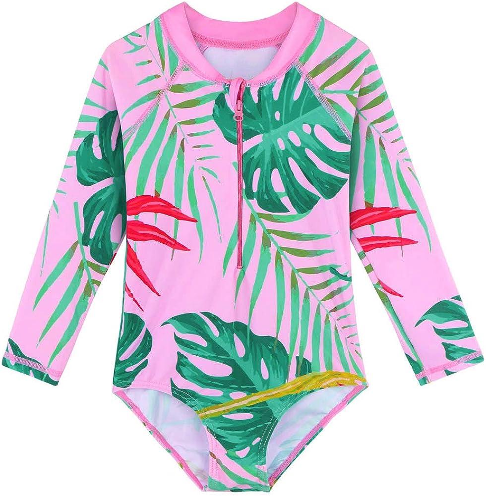 service BAOHULU Girls Long Bargain Sleeve Rash Guard UV 50+ One Swimsuits Piece