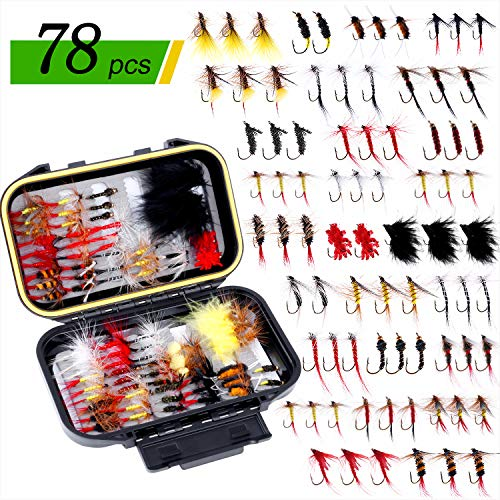ODDSPRO Fly Fishing Flies Kit, Fly Fishing Lures, Fly Fishing Dry Flies Wet Flies Assortment Kit with Waterproof Fly Box for Trout Fishing