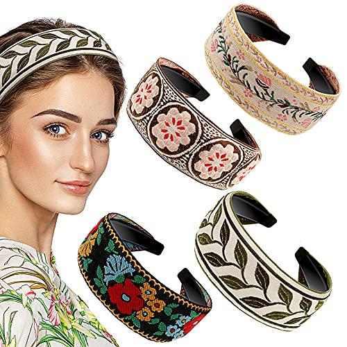 4 Piezas Diademas Bohemias Diademas Anchas de Bordado de Flores Diadema de Estilo Étnico Vintage para Mujeres Niñas Accesorios de Pelo