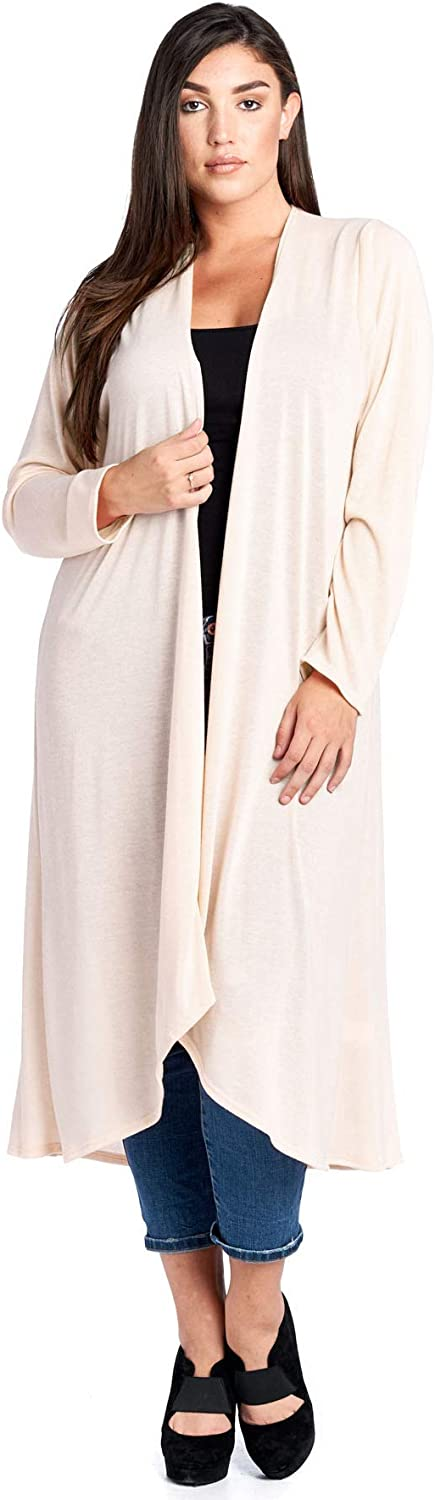 12 Ami Plus Size Basic Knit Solid Long Sleeve Maxi Cardigan  Made in USA