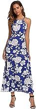 Women's Sleeveless Halter Neck Vintage Floral Print Party Long Maxi Dress