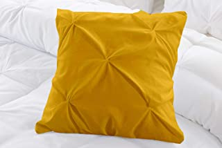 Natura Pura 1000 Thread Count, Pillow Cover 100% Cotton, Pinch Pleat Design, (Sofa/Throw Sized 16 By 16 Inch) Gold, Set Of...