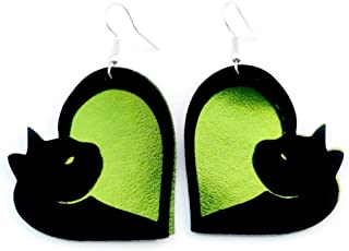 Lime Green Kitty Cat Vegan Faux Leather Earrings Lightweight for Women and Girls