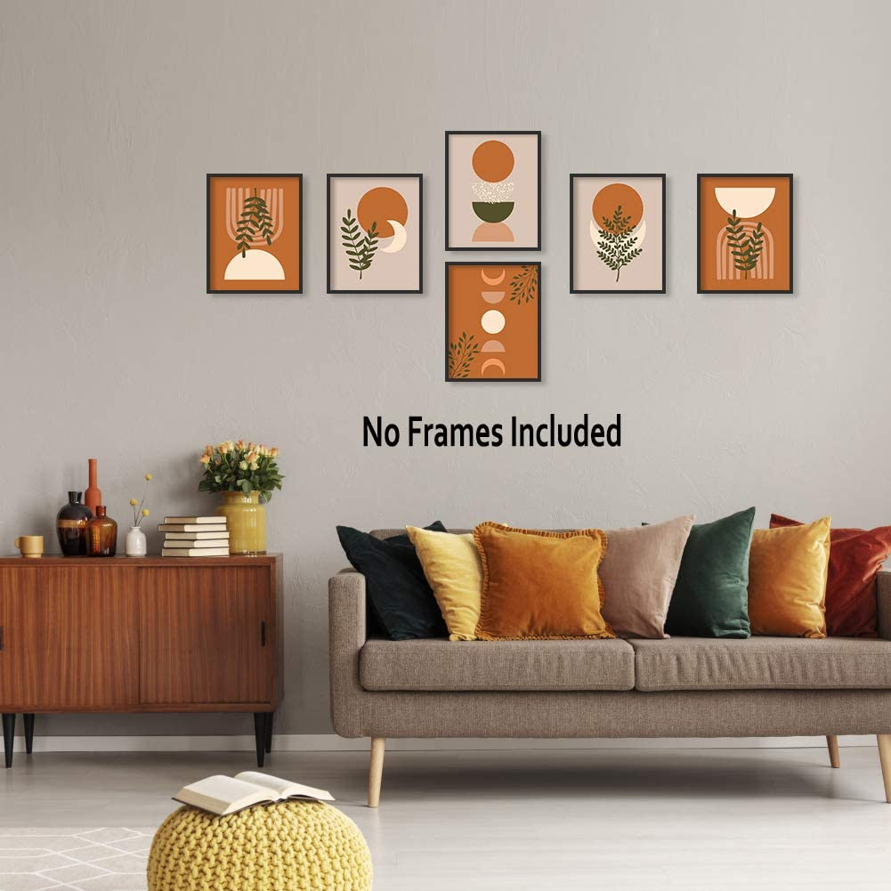"""Warm Colors Boho Art Prints, Mid Century Modern Canvas Poster Set Of  2020""""X20"""", Unframed, Minimalist Abstract Geometric Sun Wall Art Canvas  Poster For ..."""