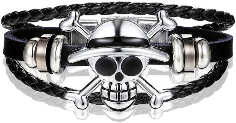 Bracelet Men,Fashion Accessories Men's Bracelet Casual Black Leather Bracelet Men's Vintage Bracelet and Skull Bracelet