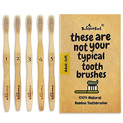 Natural Classic Bamboo Toothbrushes (Pack of 5) for Adults with Soft Bio-Based Nylon Bristles - Individually Packed & Numbered, Organic Compostable Plastic Free Packaging