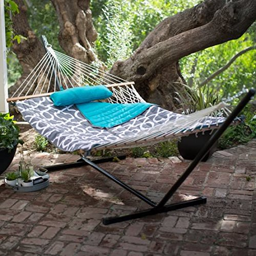 Ben and Jonah Algoma 11-ft. Cotton Rope Hammock with Metal Stand Deluxe Set