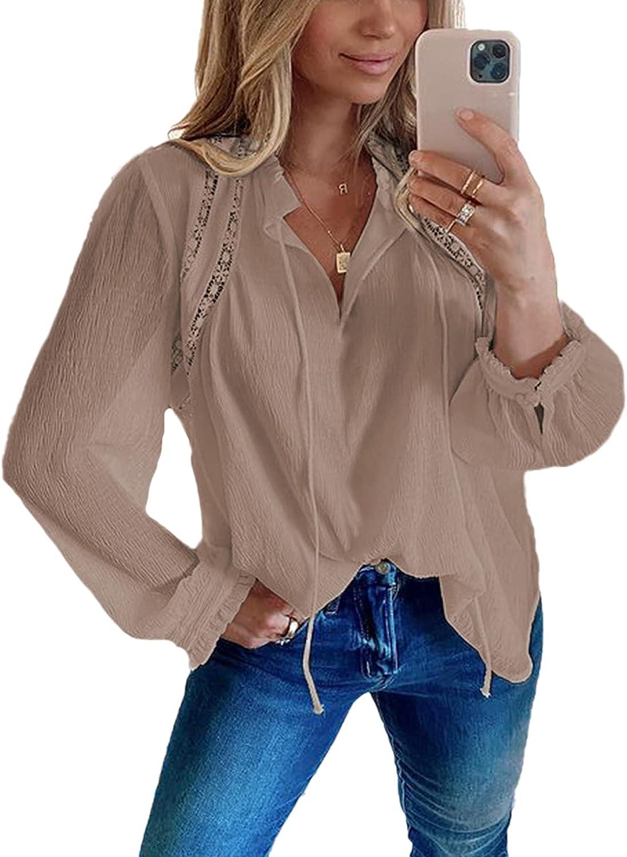 Ecrocoo Women's Regular dealer Casual Solid Color Long Neck V Sleeve Ultra-Cheap Deals Drawstring