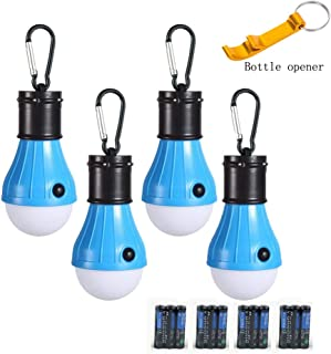 GL LED Camping Lantern, [4 Pack] Portable Outdoor Tent Light Emergency Bulb Light for Camping, Hiking, Fishing,Hurricane, Storm, Outage(Battery Included)