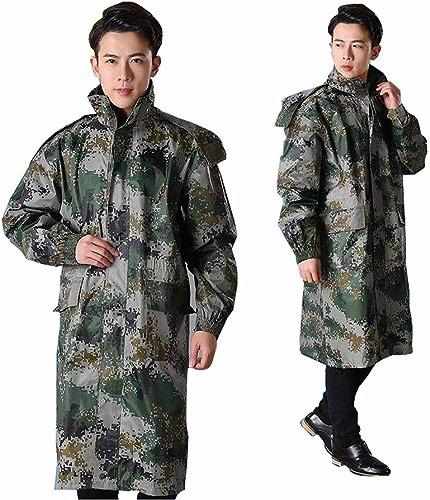 DJALSKJ Imperméable Randonnée Imperméable Camouflage Léger Imperméable Imperméable Camping Extérieur Hommes Imperméable Un Manteau imperméable
