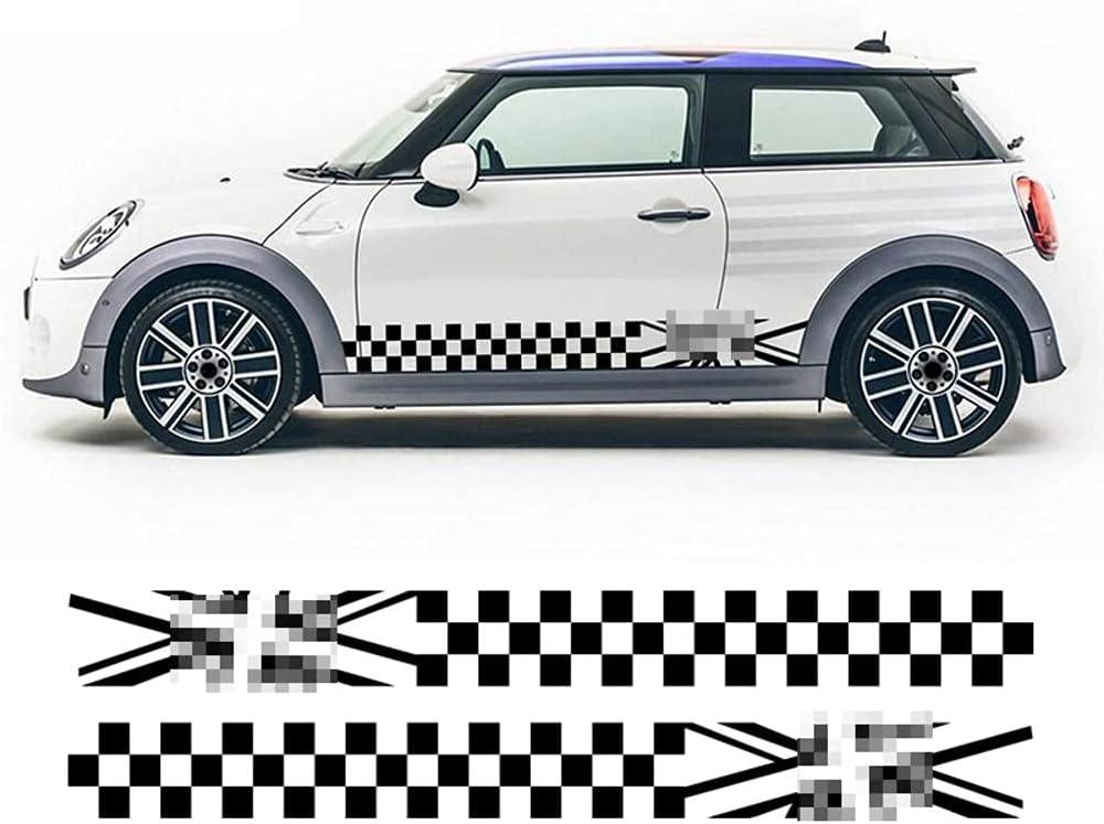 2 uds.Pegatina de Rayas Laterales de Puerta Union Jack a Cuadros, para Mini Cooper S One JCW R50 R52 R53 R56 R57 F55 F56 F57 Accesorios